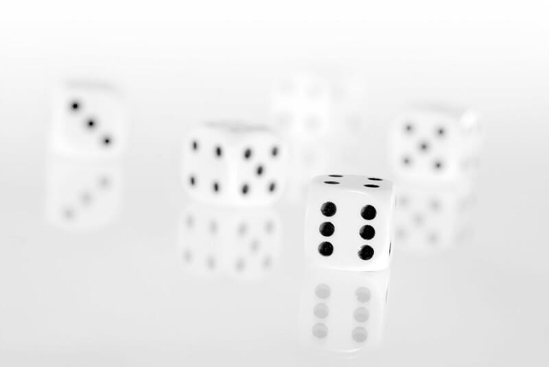 White dice for gambling